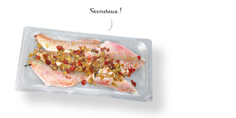 filets de rouget avec emballage micro-ondable pour cuisson en papillote. Par Mericq.