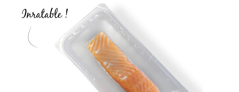 filet de saumon frais avec emballage micro-ondable pour cuisson en papillote. Par Mericq.