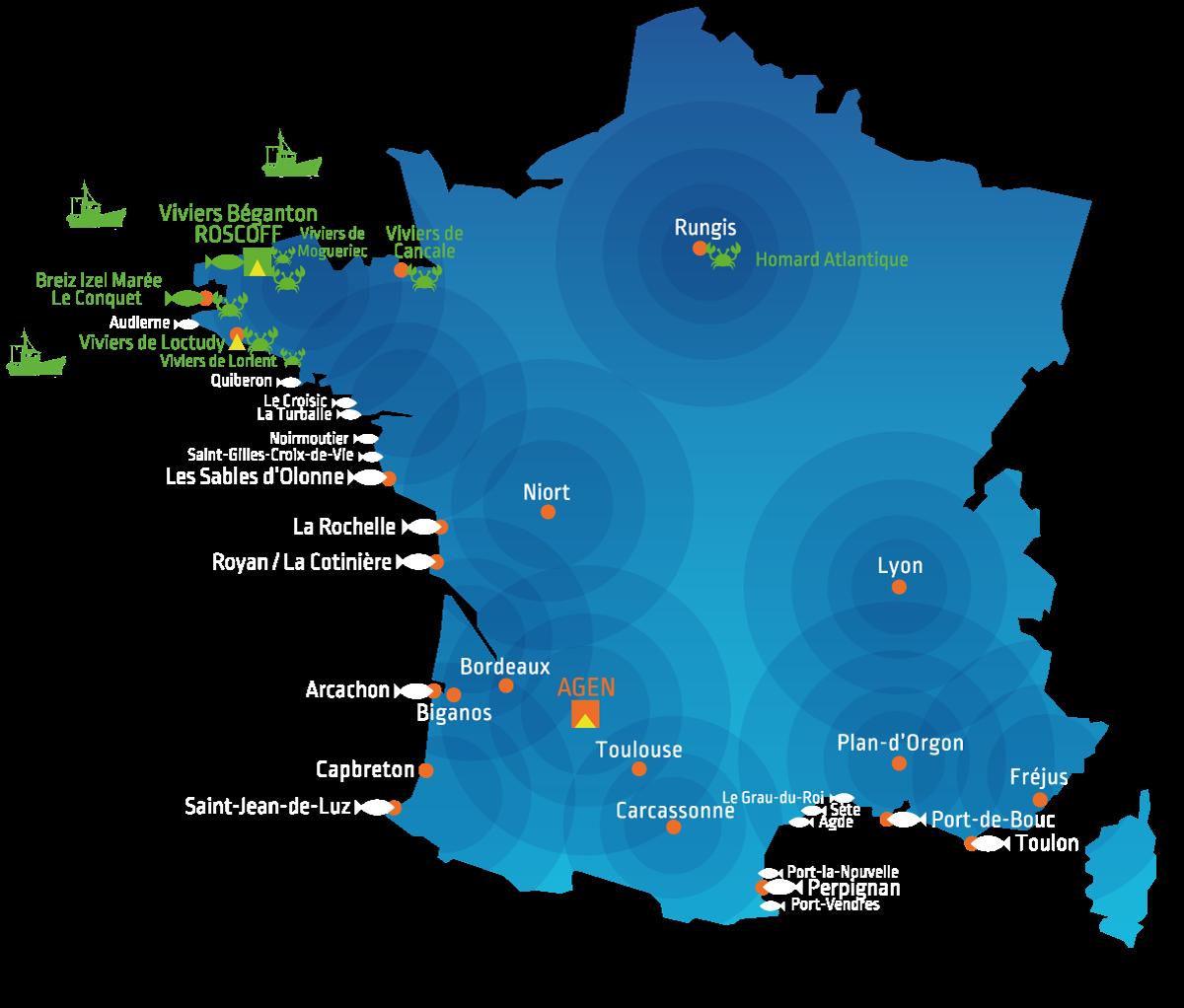 Présence du Groupe Mericq en France