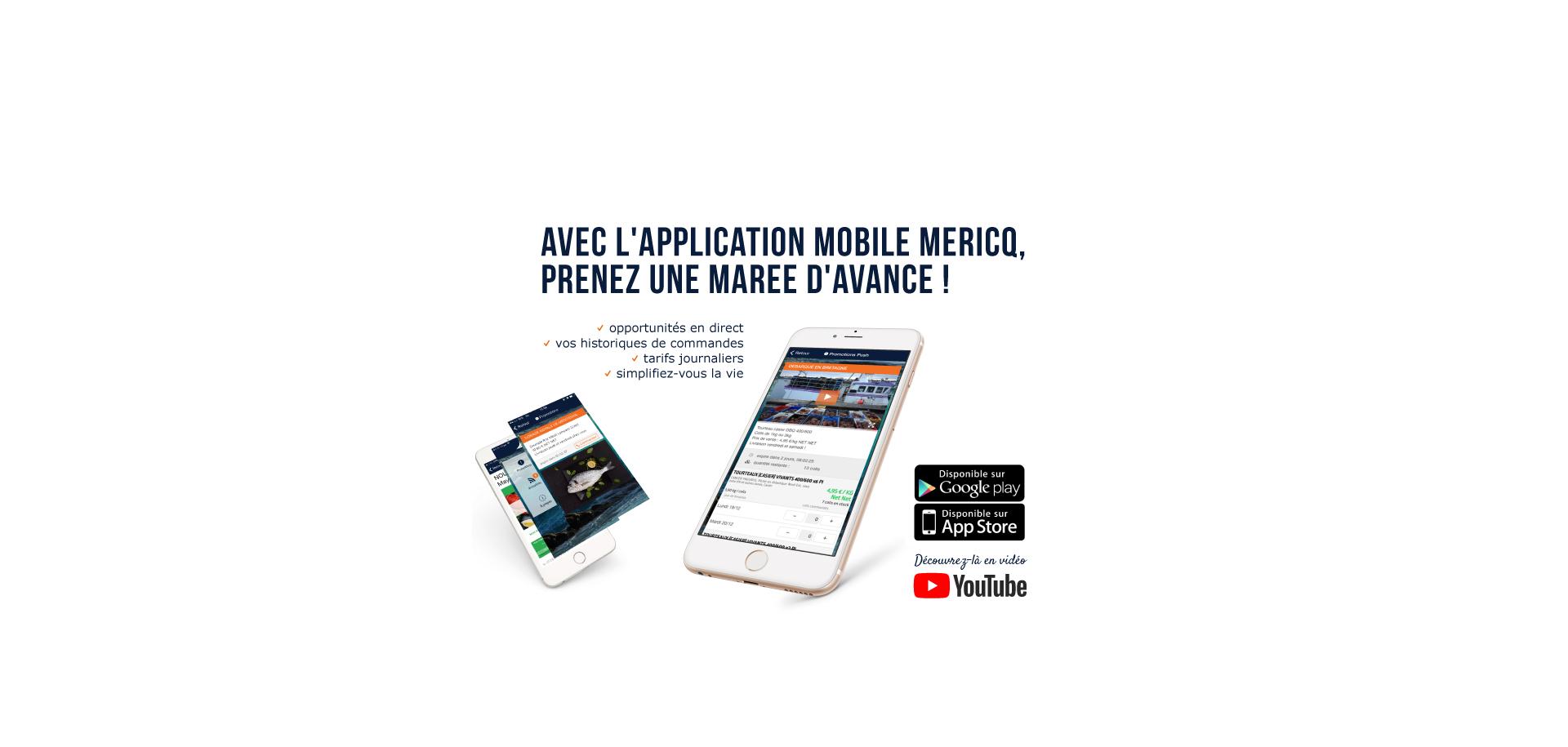 Application mobile du Groupe Mericq, spécialiste du mareyage et approvisionnement de produits de la mer