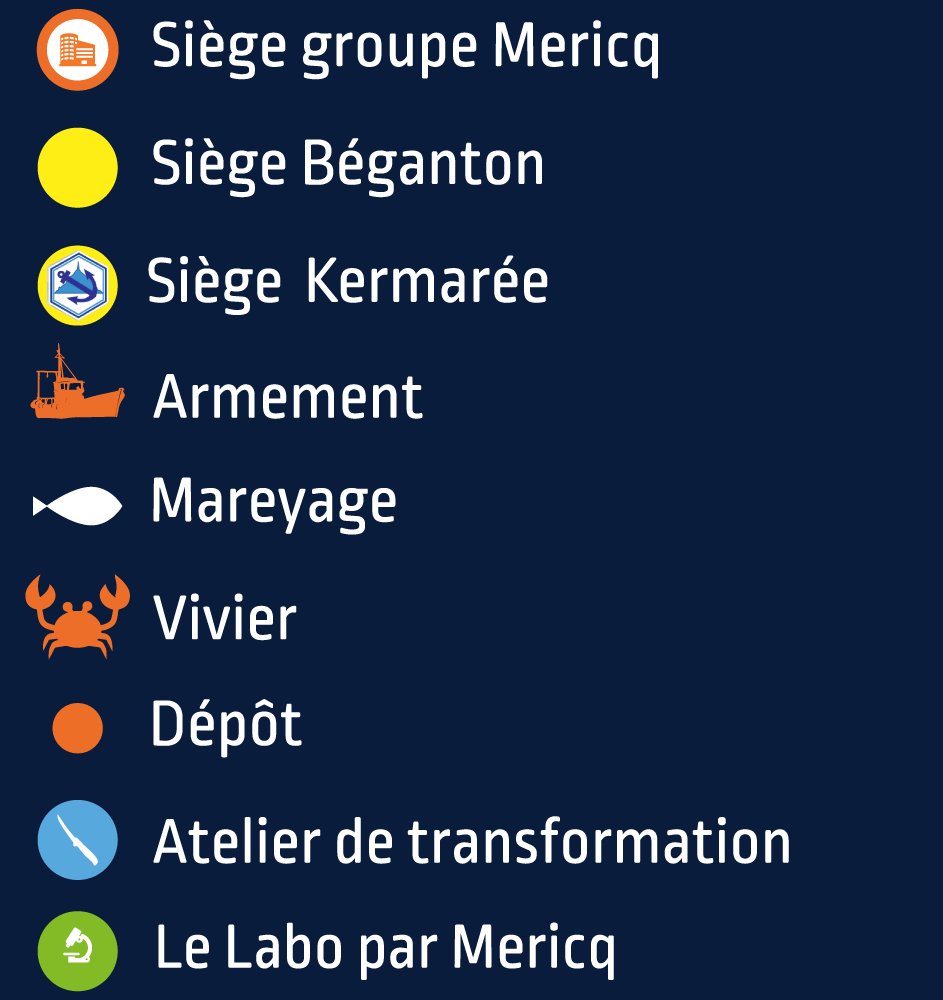 Légende de la carte du groupe Mericq en France